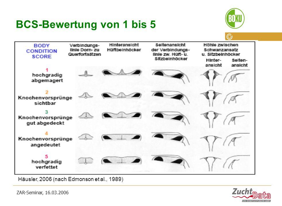 ZAR-Seminar, 16.03.2006 BCS-Bewertung von 1 bis 5 Häusler, 2006 (nach Edmonson et al., 1989)