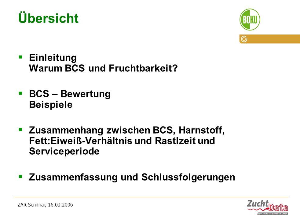 ZAR-Seminar, 16.03.2006 Übersicht Einleitung Warum BCS und Fruchtbarkeit? BCS – Bewertung Beispiele Zusammenhang zwischen BCS, Harnstoff, Fett:Eiweiß-