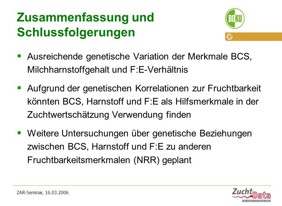ZAR-Seminar, 16.03.2006 Zusammenfassung und Schlussfolgerungen Ausreichende genetische Variation der Merkmale BCS, Milchharnstoffgehalt und F:E-Verhäl
