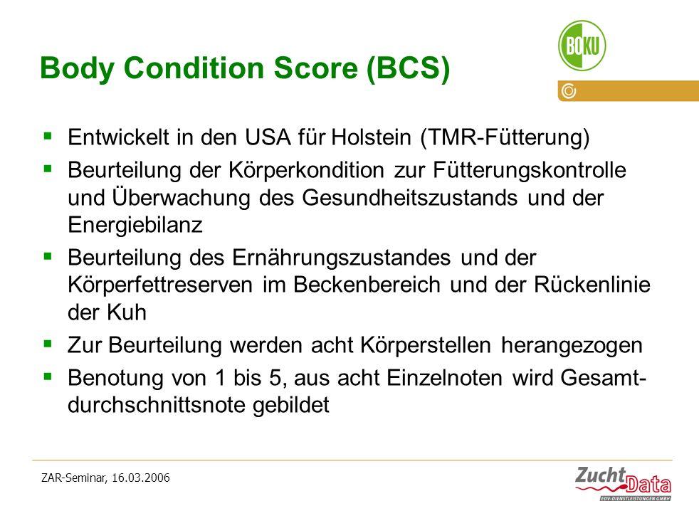 ZAR-Seminar, 16.03.2006 Body Condition Score (BCS) Entwickelt in den USA für Holstein (TMR-Fütterung) Beurteilung der Körperkondition zur Fütterungsko