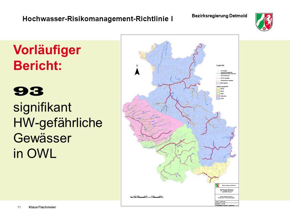 Bezirksregierung Detmold Hochwasser-Risikomanagement-Richtlinie I Klaus Flachmeier11 93 signifikant HW-gefährliche Gewässer in OWL Vorläufiger Bericht
