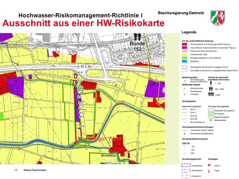 Bezirksregierung Detmold Hochwasser-Risikomanagement-Richtlinie I Klaus Flachmeier16.24.08.11 Ausschnitt aus einer HW-Risikokarte