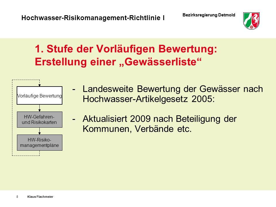 Bezirksregierung Detmold Hochwasser-Risikomanagement-Richtlinie I 1. Stufe der Vorläufigen Bewertung: Erstellung einer Gewässerliste Landesweite Bewer