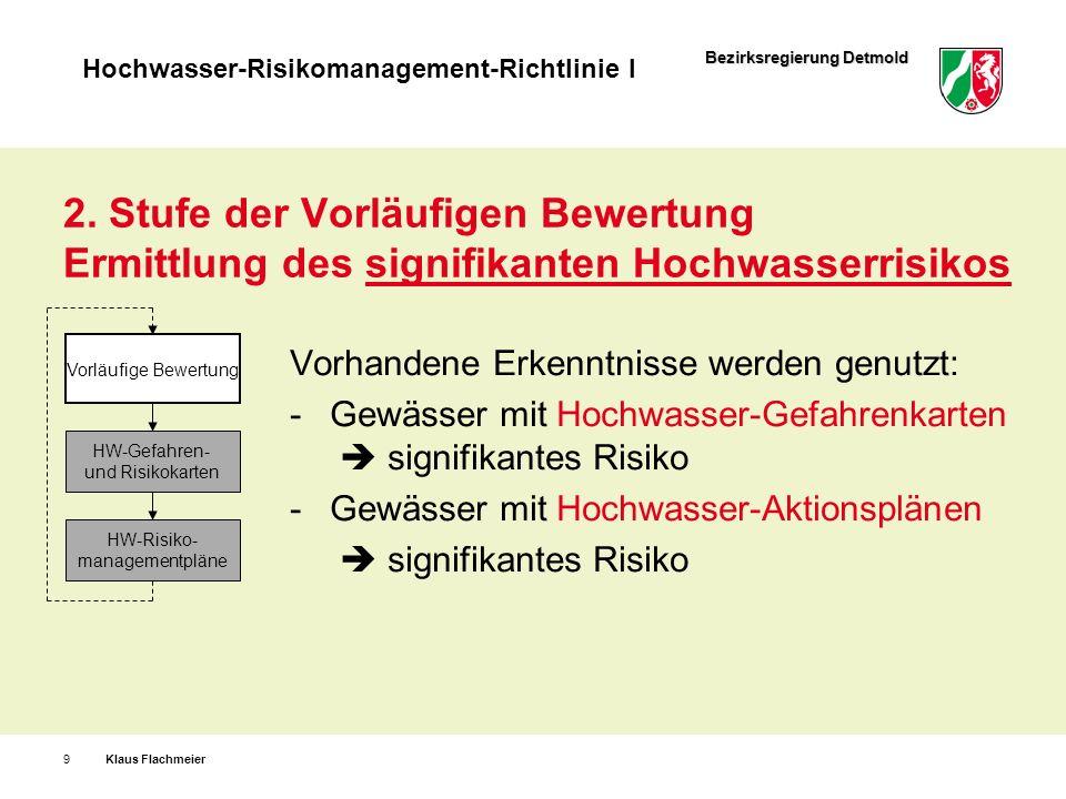 Bezirksregierung Detmold Hochwasser-Risikomanagement-Richtlinie I Klaus Flachmeier20 HandlungsbereicheBeispiele FlächenvorsorgeFestsetzung von Ü-Gebieten natürlicher WasserrückhaltRegenwasserversickerung technischer HochwasserschutzHRB, Deiche, Objektschutz BauvorsorgeAngepasstes Bauen, VAwS RisikovorsorgeVersicherungen, Rücklagen InformationsvorsorgeHW-Warnungen VerhaltensvorsorgeInformation, Schulung der Bürger Vorbereitungen zur Gefahrenabwehr Alarm- und Einsatzplanung Hochwasserrisiko-Managementplan