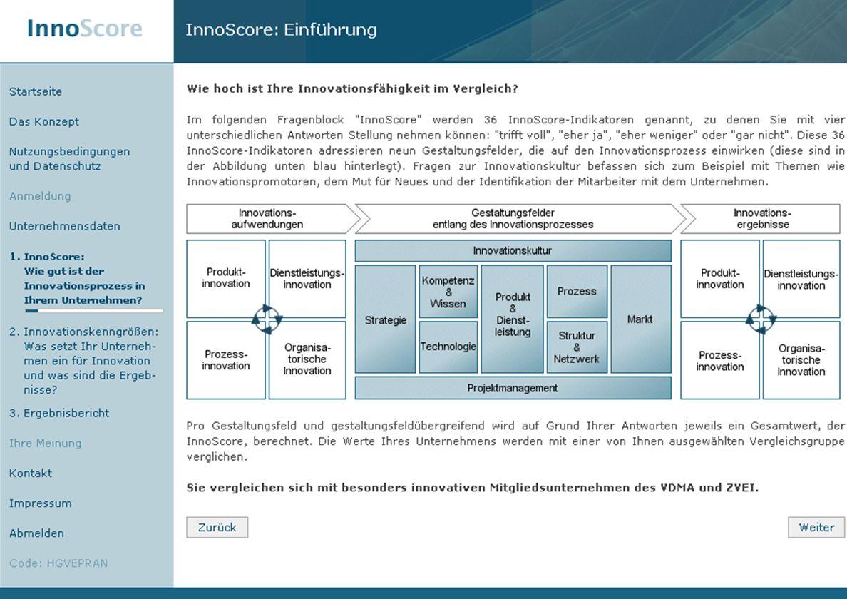 Seite 14 © Fraunhofer IAO, IAT Universität Stuttgart Screenshot Innoscore (Übersicht)