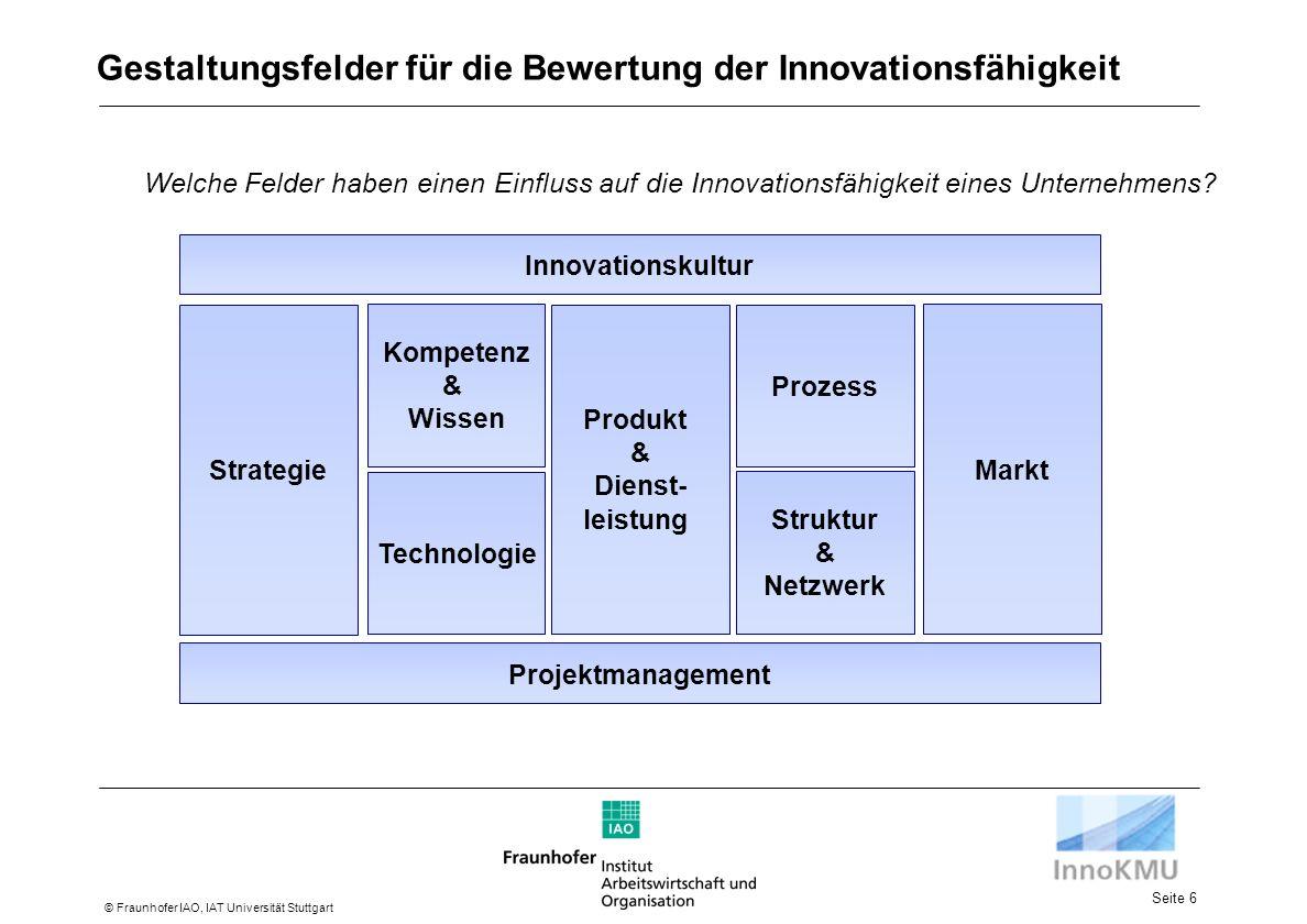 Seite 6 © Fraunhofer IAO, IAT Universität Stuttgart Strategie Kompetenz & Wissen Technologie Prozess Markt Produkt & Dienst- leistung Innovationskultur Projektmanagement Struktur & Netzwerk Gestaltungsfelder für die Bewertung der Innovationsfähigkeit Welche Felder haben einen Einfluss auf die Innovationsfähigkeit eines Unternehmens?