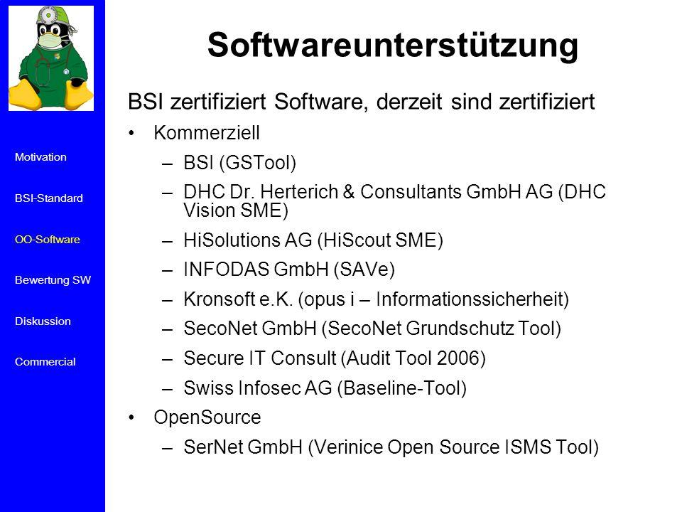 Softwareunterstützung BSI zertifiziert Software, derzeit sind zertifiziert Kommerziell –BSI (GSTool) –DHC Dr.