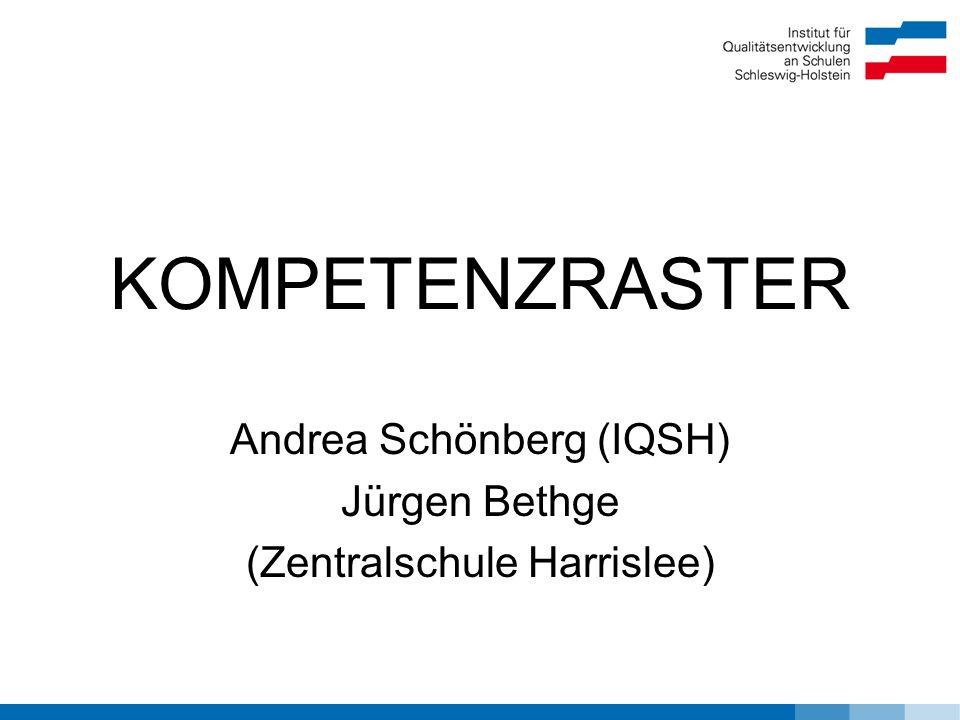 KOMPETENZRASTER Andrea Schönberg (IQSH) Jürgen Bethge (Zentralschule Harrislee)