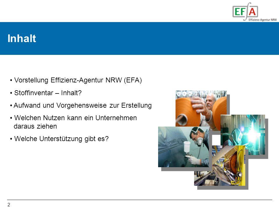 2 Inhalt Vorstellung Effizienz-Agentur NRW (EFA) Stoffinventar – Inhalt? Aufwand und Vorgehensweise zur Erstellung Welchen Nutzen kann ein Unternehmen