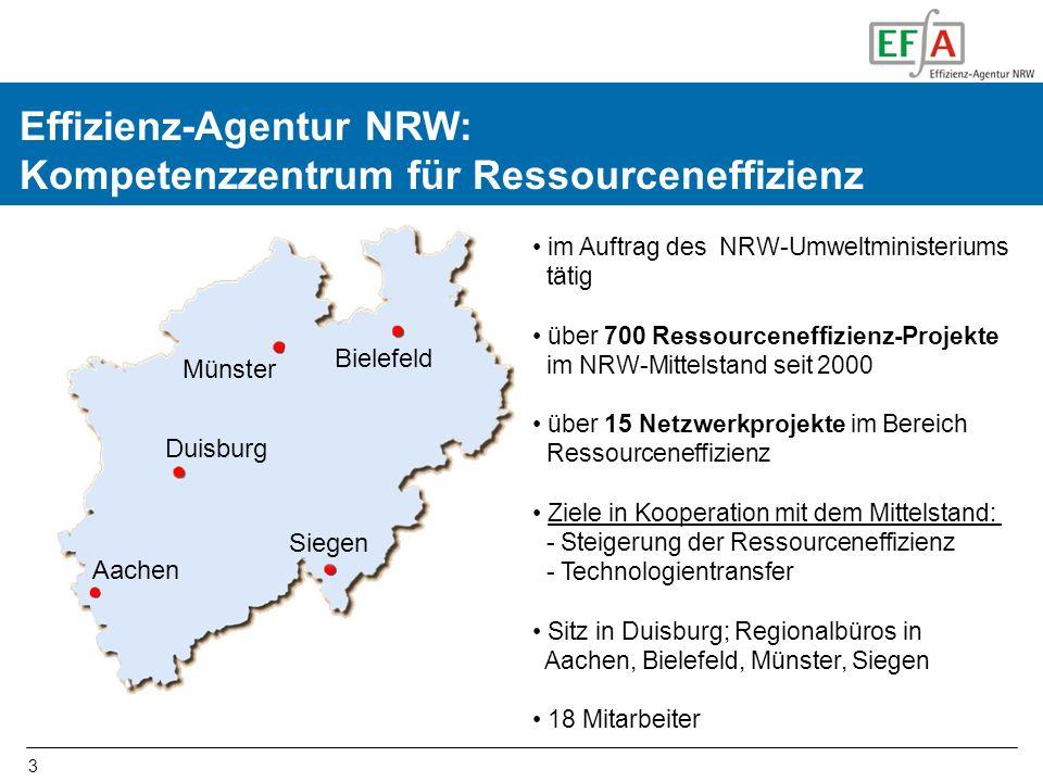 3 Effizienz-Agentur NRW: Kompetenzzentrum für Ressourceneffizienz Duisburg Aachen Siegen Bielefeld Münster im Auftrag des NRW-Umweltministeriums tätig