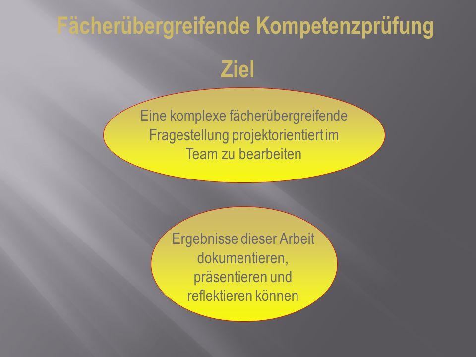 Fächerübergreifende Kompetenzprüfung Ziel Eine komplexe fächerübergreifende Fragestellung projektorientiert im Team zu bearbeiten Ergebnisse dieser Ar