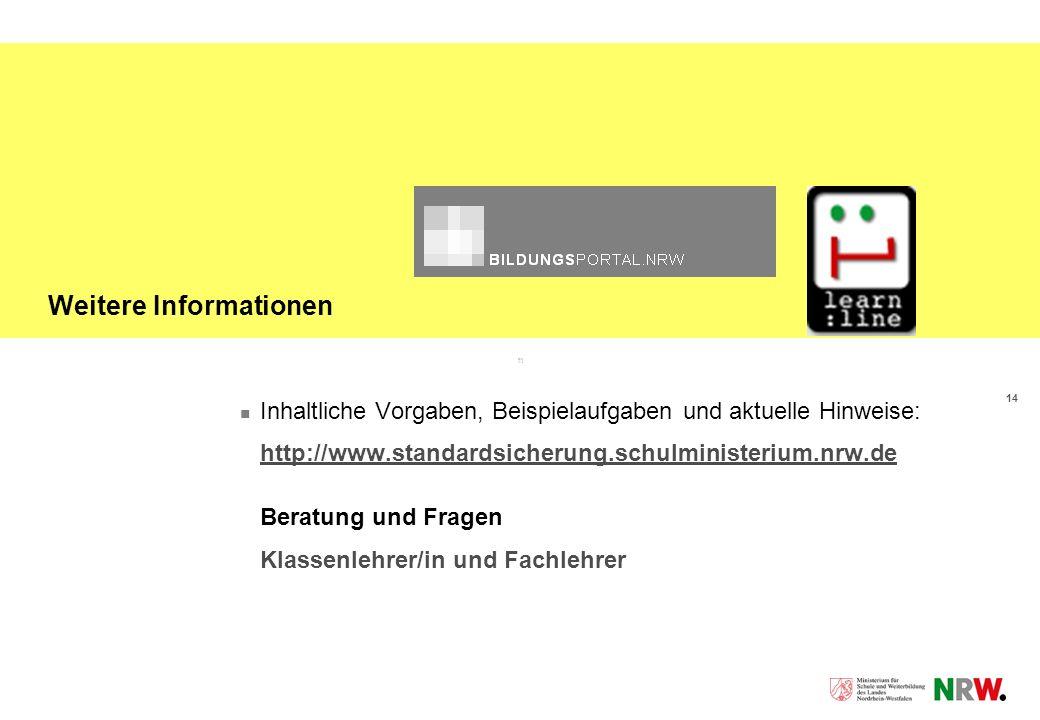 14 Weitere Informationen Inhaltliche Vorgaben, Beispielaufgaben und aktuelle Hinweise: http://www.standardsicherung.schulministerium.nrw.de Beratung u