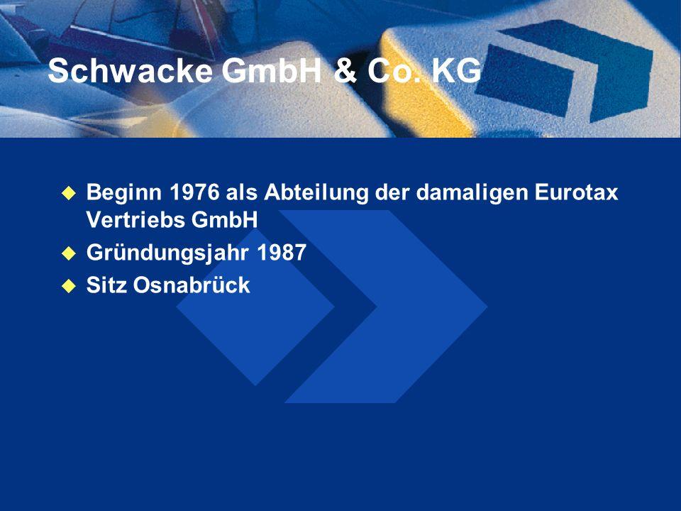 Schwacke GmbH & Co. KG Beginn 1976 als Abteilung der damaligen Eurotax Vertriebs GmbH Gründungsjahr 1987 Sitz Osnabrück
