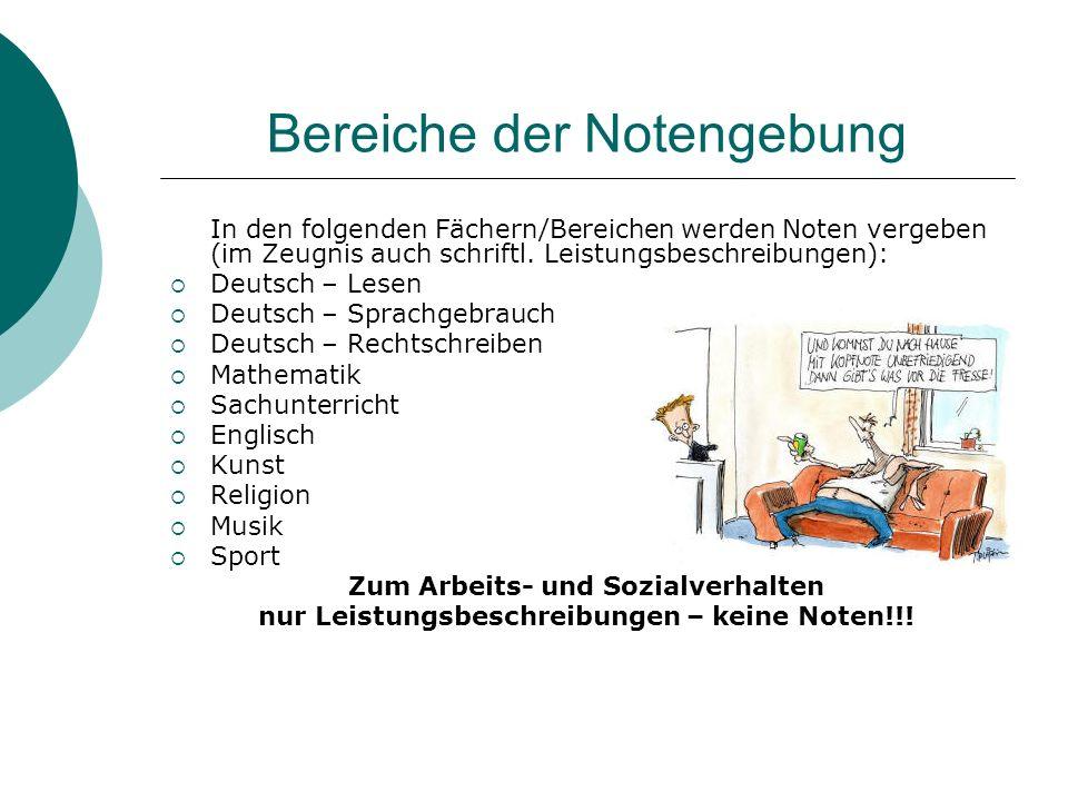 Bereiche der Notengebung In den folgenden Fächern/Bereichen werden Noten vergeben (im Zeugnis auch schriftl. Leistungsbeschreibungen): Deutsch – Lesen