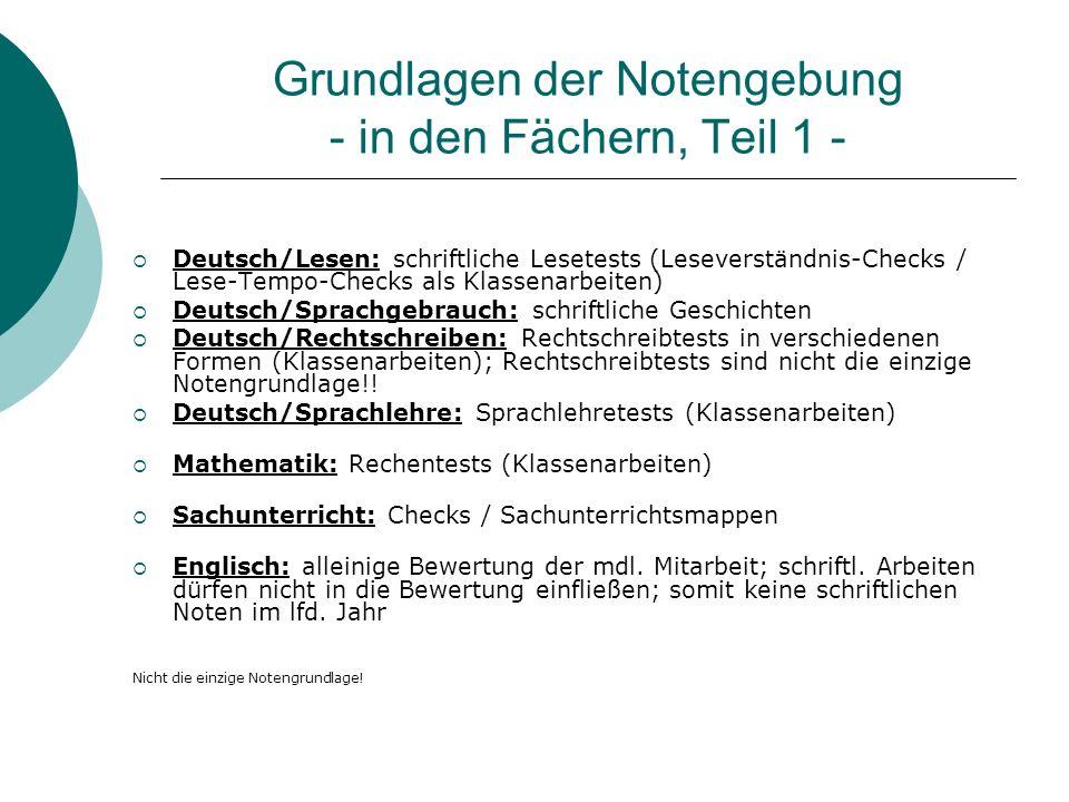 Grundlagen der Notengebung - in den Fächern, Teil 1 - Deutsch/Lesen: schriftliche Lesetests (Leseverständnis-Checks / Lese-Tempo-Checks als Klassenarb