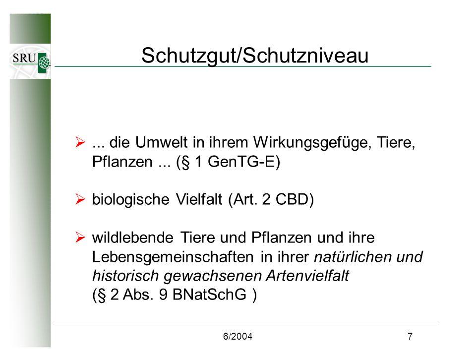 6/20047 Schutzgut/Schutzniveau... die Umwelt in ihrem Wirkungsgefüge, Tiere, Pflanzen...