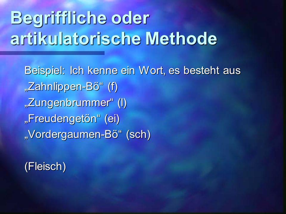 Methodische Versuche, die Lautsynthese zu vermitteln: VokalisationsmethodeBsp.
