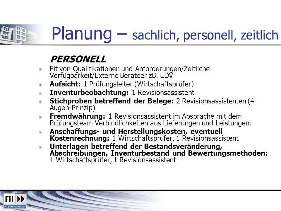 Planung – sachlich, personell, zeitlich PERSONELL Fit von Qualifikationen und Anforderungen/Zeitliche Verfügbarkeit/Externe Berateer zB. EDV Aufsicht: