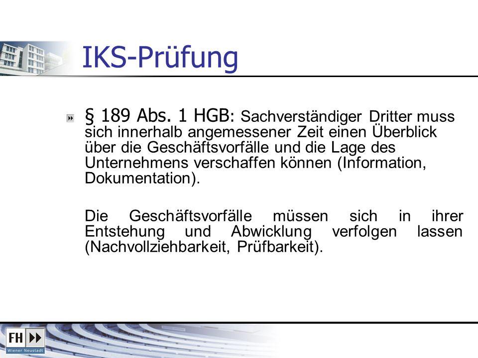 IKS-Prüfung § 189 Abs. 1 HGB : Sachverständiger Dritter muss sich innerhalb angemessener Zeit einen Überblick über die Geschäftsvorfälle und die Lage
