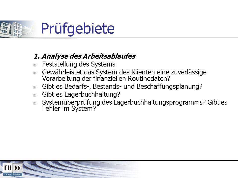 Prüfgebiete 1. Analyse des Arbeitsablaufes Feststellung des Systems Gewährleistet das System des Klienten eine zuverlässige Verarbeitung der finanziel