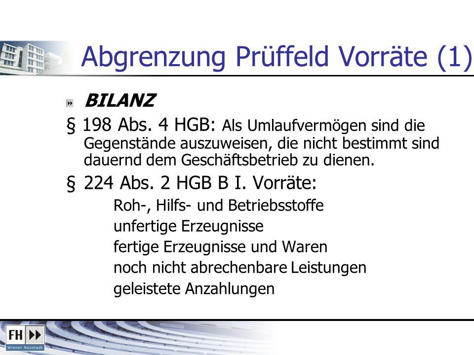 Abgrenzung Prüffeld Vorräte (1) BILANZ § 198 Abs. 4 HGB: Als Umlaufvermögen sind die Gegenstände auszuweisen, die nicht bestimmt sind dauernd dem Gesc