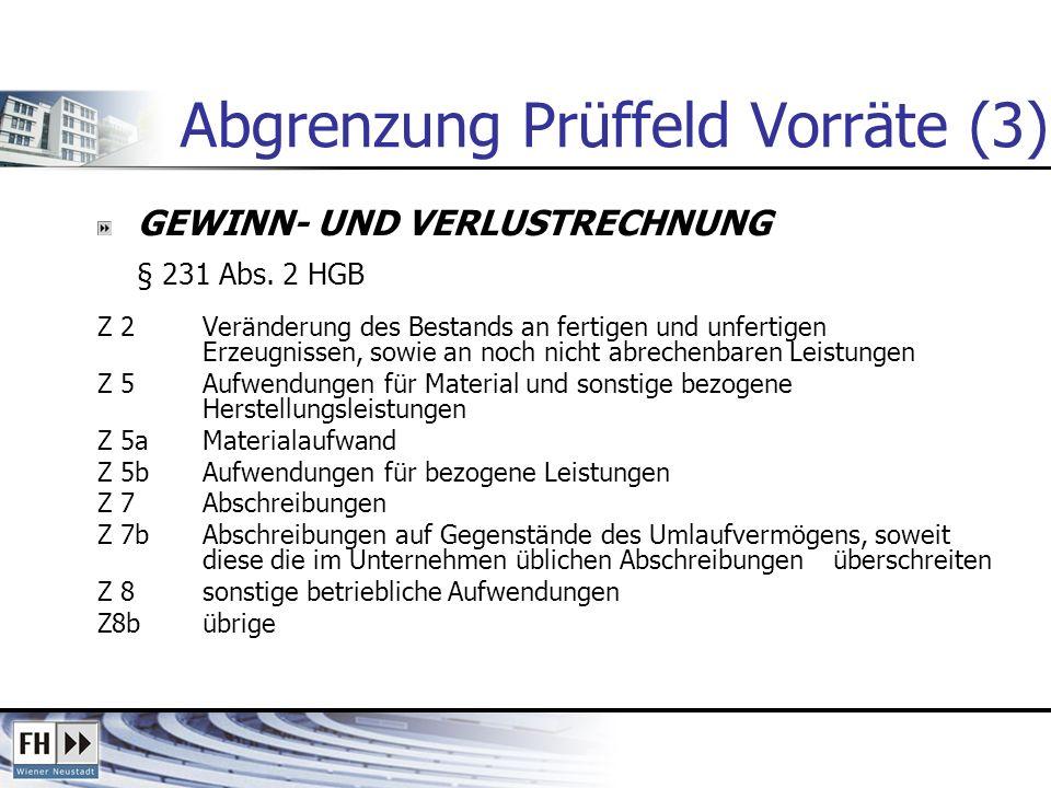 Abgrenzung Prüffeld Vorräte (3) GEWINN- UND VERLUSTRECHNUNG § 231 Abs. 2 HGB Z 2Veränderung des Bestands an fertigen und unfertigen Erzeugnissen, sowi