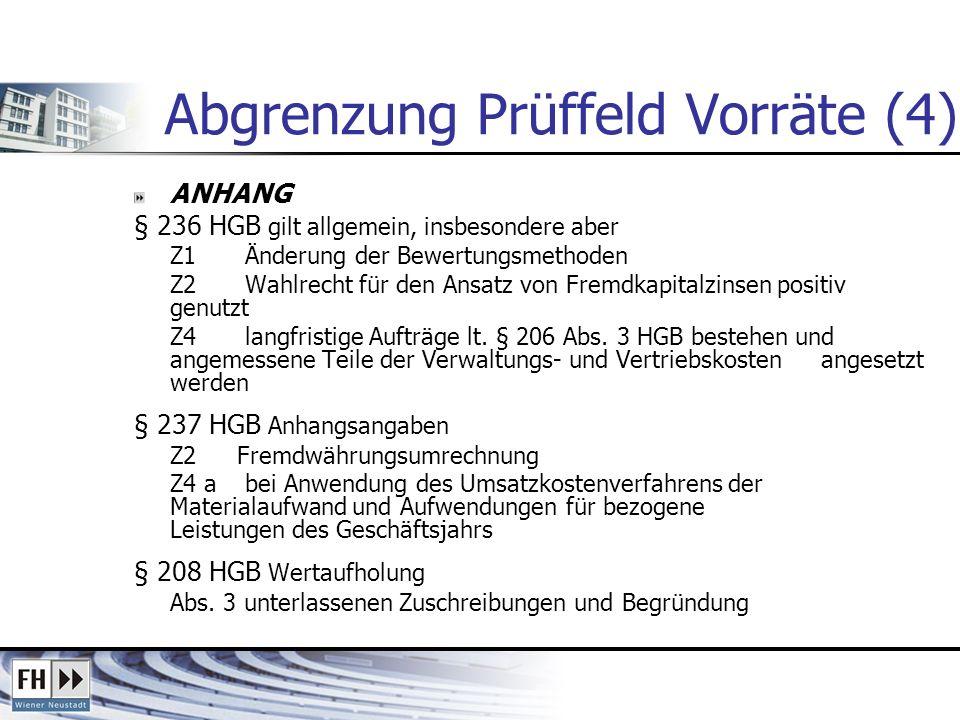 Abgrenzung Prüffeld Vorräte (4) ANHANG § 236 HGB gilt allgemein, insbesondere aber Z1 Änderung der Bewertungsmethoden Z2 Wahlrecht für den Ansatz von Fremdkapitalzinsen positiv genutzt Z4 langfristige Aufträge lt.