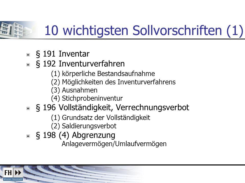 10 wichtigsten Sollvorschriften (1) § 191 Inventar § 192 Inventurverfahren (1) körperliche Bestandsaufnahme (2) Möglichkeiten des Inventurverfahrens (3) Ausnahmen (4) Stichprobeninventur § 196 Vollständigkeit, Verrechnungsverbot (1) Grundsatz der Vollständigkeit (2) Saldierungsverbot § 198 (4) Abgrenzung Anlagevermögen/Umlaufvermögen