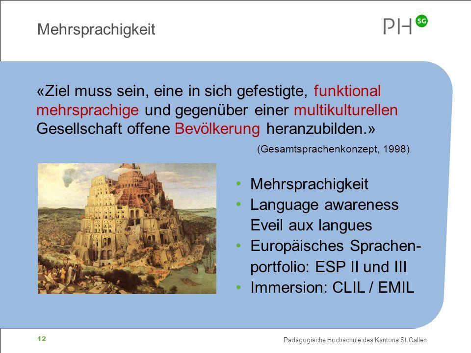 Pädagogische Hochschule des Kantons St.Gallen 12 Mehrsprachigkeit «Ziel muss sein, eine in sich gefestigte, funktional mehrsprachige und gegenüber ein