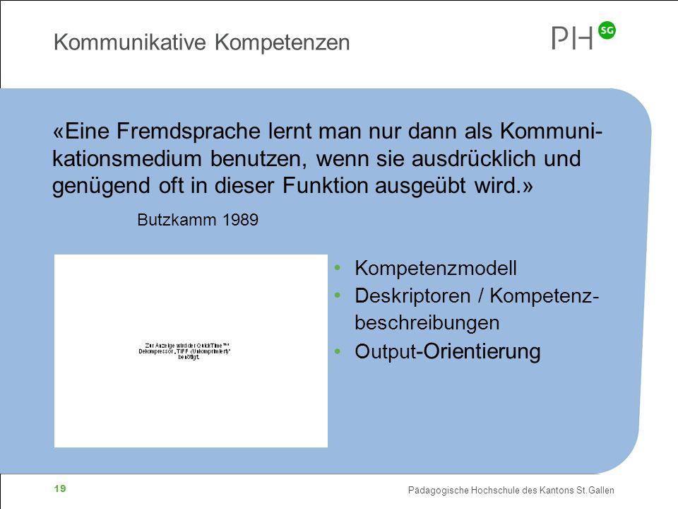 Pädagogische Hochschule des Kantons St.Gallen 19 Kommunikative Kompetenzen «Eine Fremdsprache lernt man nur dann als Kommuni- kationsmedium benutzen, wenn sie ausdrücklich und genügend oft in dieser Funktion ausgeübt wird.» Butzkamm 1989 Kompetenzmodell Deskriptoren / Kompetenz- beschreibungen Output -Orientierung