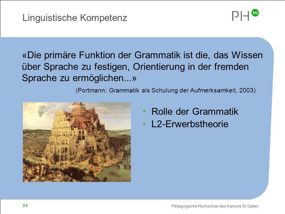 Pädagogische Hochschule des Kantons St.Gallen 22 Linguistische Kompetenz «Die primäre Funktion der Grammatik ist die, das Wissen über Sprache zu festi