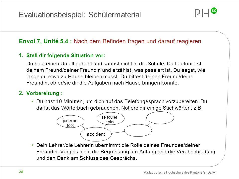 Pädagogische Hochschule des Kantons St.Gallen 28 Envol 7, Unité 5.4 : Nach dem Befinden fragen und darauf reagieren 1.