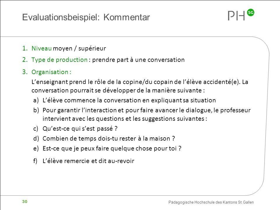 Pädagogische Hochschule des Kantons St.Gallen 30 Evaluationsbeispiel: Kommentar 1. Niveau moyen / supérieur 2. Type de production : prendre part à une