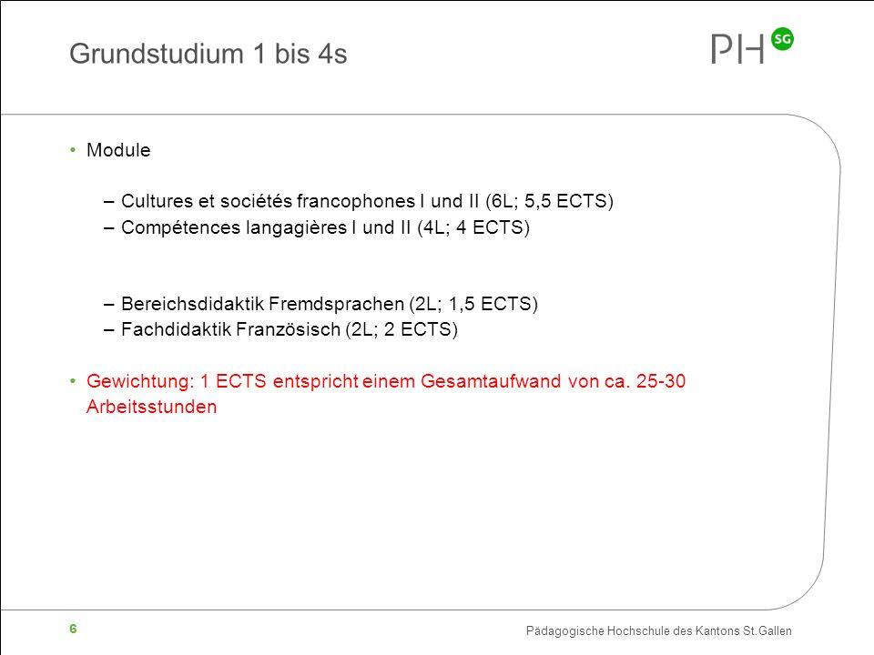 Pädagogische Hochschule des Kantons St.Gallen 6 Grundstudium 1 bis 4s Module –Cultures et sociétés francophones I und II (6L; 5,5 ECTS) –Compétences langagières I und II (4L; 4 ECTS) –Bereichsdidaktik Fremdsprachen (2L; 1,5 ECTS) –Fachdidaktik Französisch (2L; 2 ECTS) Gewichtung: 1 ECTS entspricht einem Gesamtaufwand von ca.