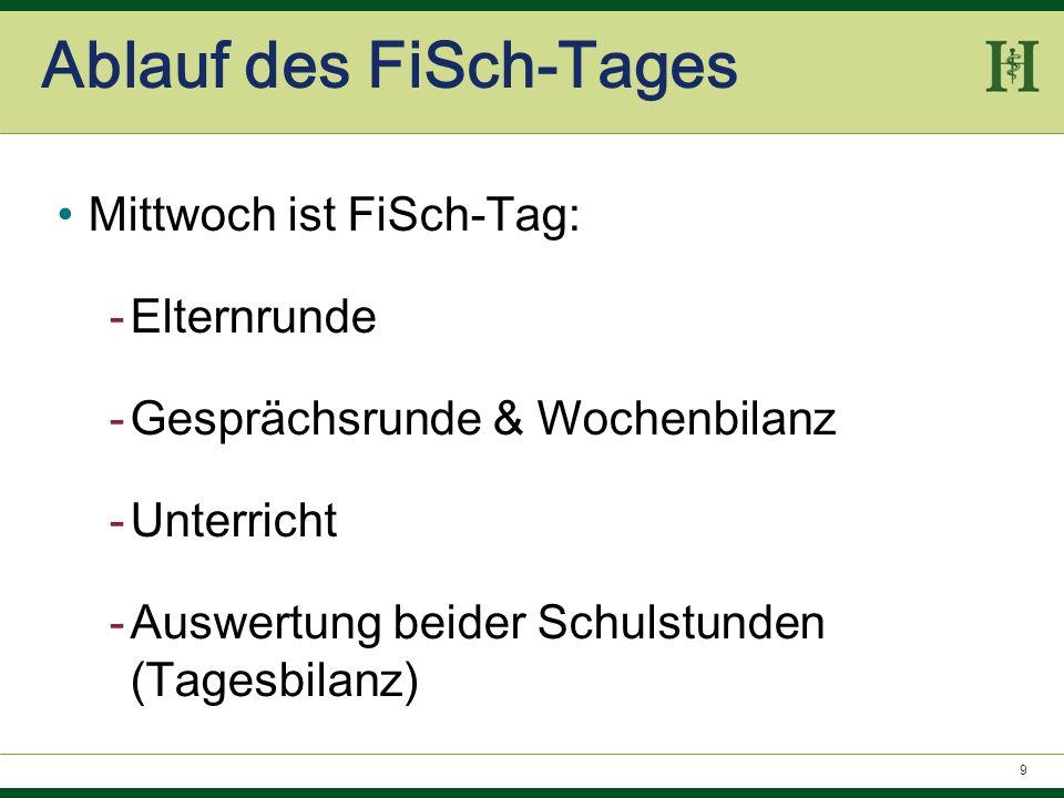 9 Ablauf des FiSch-Tages Mittwoch ist FiSch-Tag: -Elternrunde -Gesprächsrunde & Wochenbilanz -Unterricht -Auswertung beider Schulstunden (Tagesbilanz)
