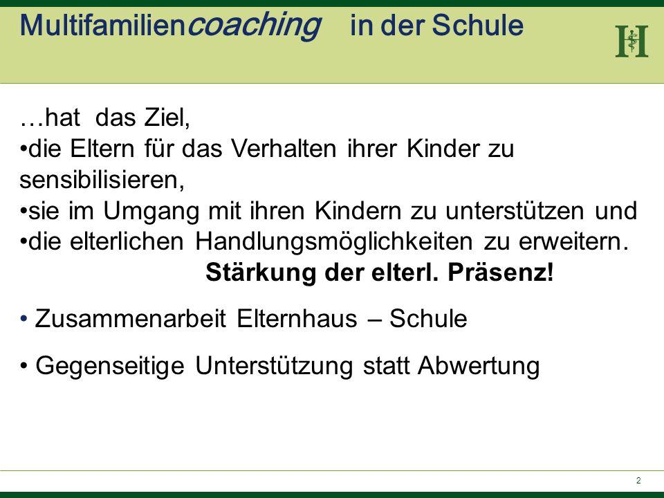 2 Multifamilien coaching in der Schule …hat das Ziel, die Eltern für das Verhalten ihrer Kinder zu sensibilisieren, sie im Umgang mit ihren Kindern zu
