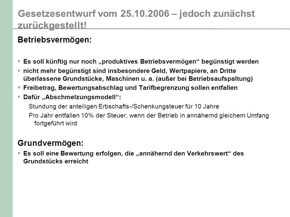 Gesetzesentwurf vom 25.10.2006 – jedoch zunächst zurückgestellt! Betriebsvermögen: Es soll künftig nur noch produktives Betriebsvermögen begünstigt we