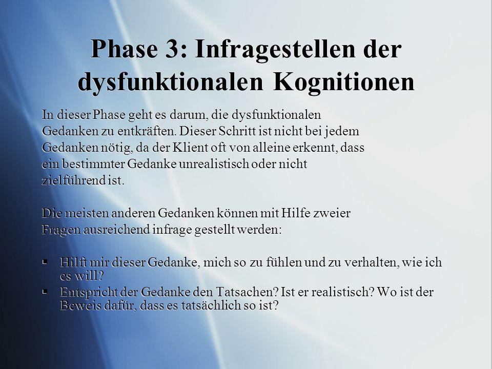 Phase 3: Infragestellen der dysfunktionalen Kognitionen In dieser Phase geht es darum, die dysfunktionalen Gedanken zu entkräften. Dieser Schritt ist