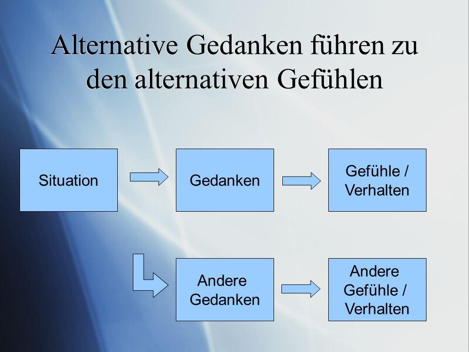 Alternative Gedanken führen zu den alternativen Gefühlen Gedanken Gefühle / Verhalten Situation Andere Gedanken Andere Gefühle / Verhalten