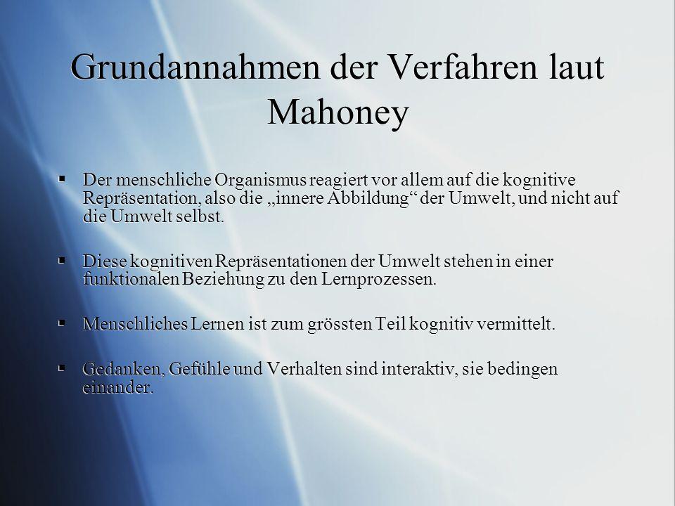 Grundannahmen der Verfahren laut Mahoney Der menschliche Organismus reagiert vor allem auf die kognitive Repräsentation, also die innere Abbildung der Umwelt, und nicht auf die Umwelt selbst.