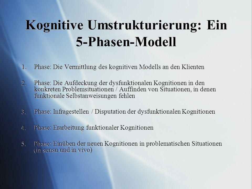 Kognitive Umstrukturierung: Ein 5-Phasen-Modell 1.Phase: Die Vermittlung des kognitiven Modells an den Klienten 2.Phase: Die Aufdeckung der dysfunktionalen Kognitionen in den konkreten Problemsituationen / Auffinden von Situationen, in denen funktionale Selbstanweisungen fehlen 3.Phase: Infragestellen / Disputation der dysfunktionalen Kognitionen 4.Phase: Erarbeitung funktionaler Kognitionen 5.Phase: Einüben der neuen Kognitionen in problematischen Situationen (in sensu und in vivo) 1.Phase: Die Vermittlung des kognitiven Modells an den Klienten 2.Phase: Die Aufdeckung der dysfunktionalen Kognitionen in den konkreten Problemsituationen / Auffinden von Situationen, in denen funktionale Selbstanweisungen fehlen 3.Phase: Infragestellen / Disputation der dysfunktionalen Kognitionen 4.Phase: Erarbeitung funktionaler Kognitionen 5.Phase: Einüben der neuen Kognitionen in problematischen Situationen (in sensu und in vivo)