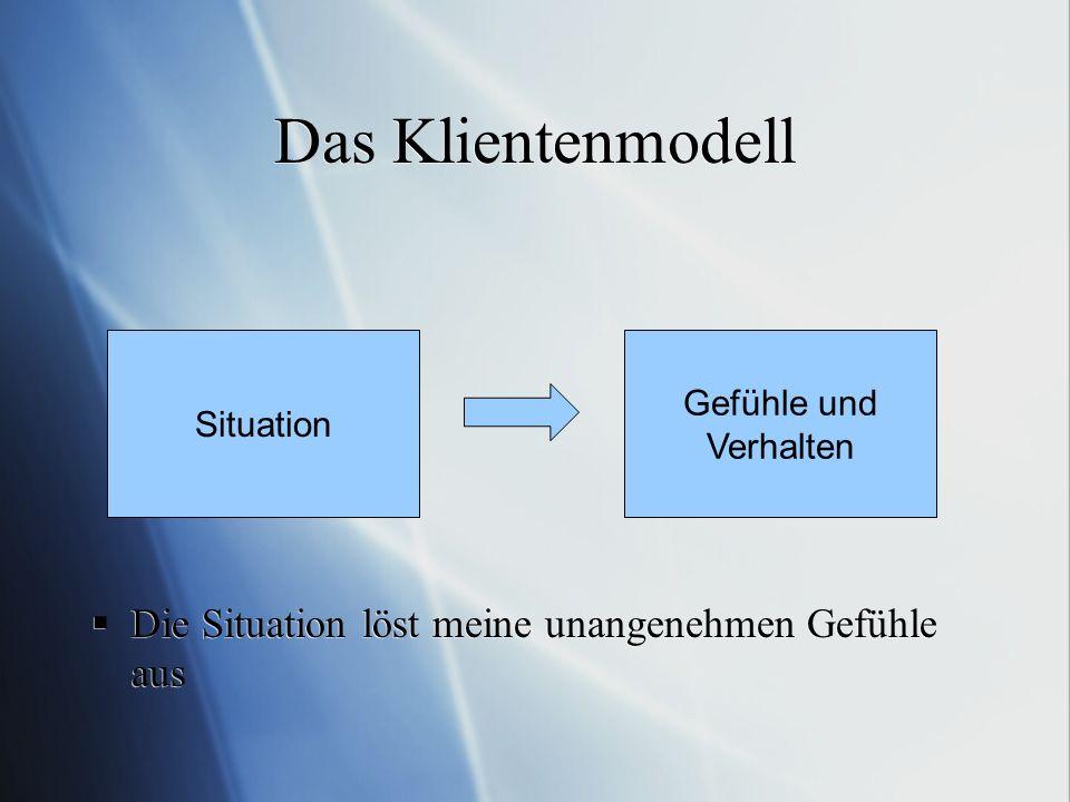Das Klientenmodell Die Situation löst meine unangenehmen Gefühle aus Situation Gefühle und Verhalten