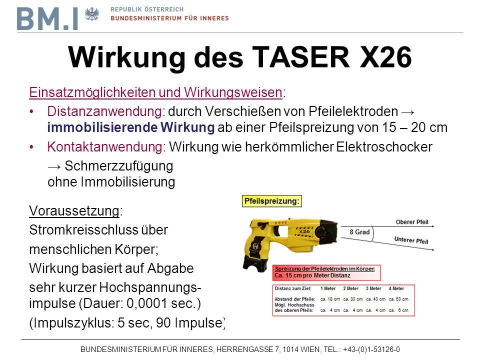 BUNDESMINISTERIUM FÜR INNERES, HERRENGASSE 7, 1014 WIEN, TEL.: +43-(0)1-53126-0 Einsatzmöglichkeiten und Wirkungsweisen: Distanzanwendung: durch Verschießen von Pfeilelektroden immobilisierende Wirkung ab einer Pfeilspreizung von 15 – 20 cm Kontaktanwendung: Wirkung wie herkömmlicher Elektroschocker Schmerzzufügung ohne Immobilisierung Voraussetzung: Stromkreisschluss über menschlichen Körper; Wirkung basiert auf Abgabe sehr kurzer Hochspannungs- impulse (Dauer: 0,0001 sec.) (Impulszyklus: 5 sec, 90 Impulse) Wirkung des TASER X26