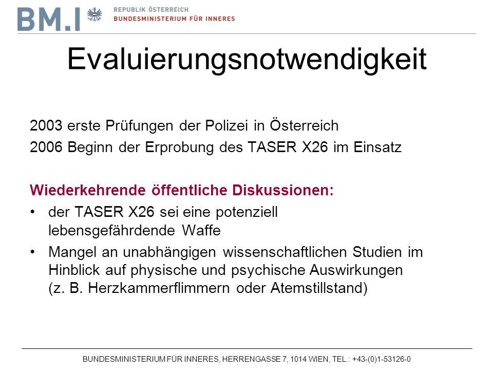 BUNDESMINISTERIUM FÜR INNERES, HERRENGASSE 7, 1014 WIEN, TEL.: +43-(0)1-53126-0 2003 erste Prüfungen der Polizei in Österreich 2006 Beginn der Erprobung des TASER X26 im Einsatz Wiederkehrende öffentliche Diskussionen: der TASER X26 sei eine potenziell lebensgefährdende Waffe Mangel an unabhängigen wissenschaftlichen Studien im Hinblick auf physische und psychische Auswirkungen (z.