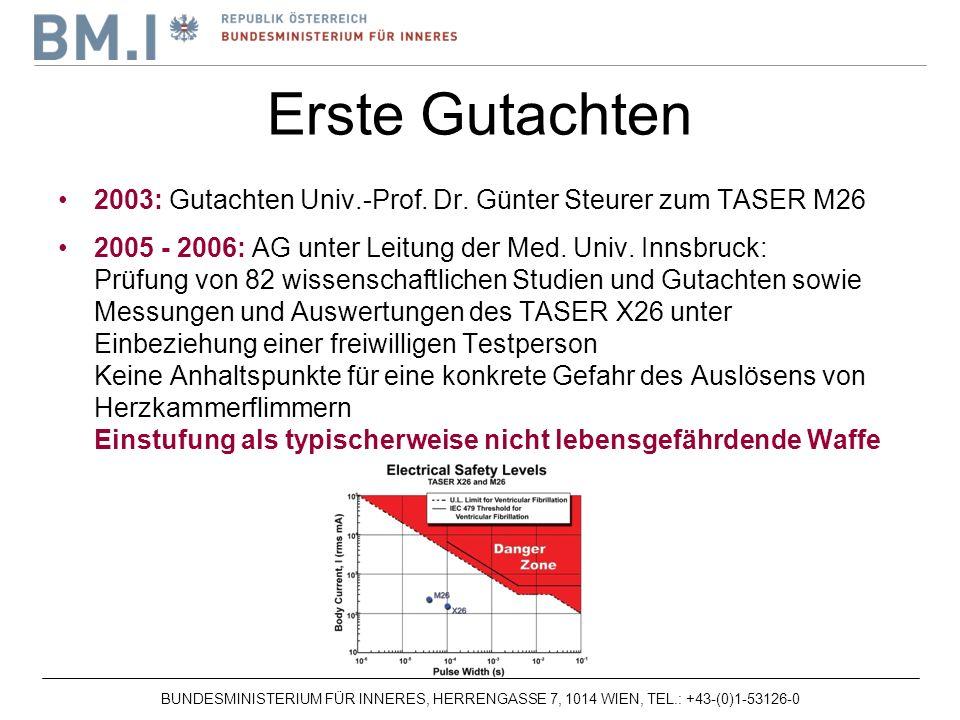 BUNDESMINISTERIUM FÜR INNERES, HERRENGASSE 7, 1014 WIEN, TEL.: +43-(0)1-53126-0 2003: Gutachten Univ.-Prof.