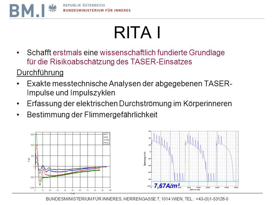 BUNDESMINISTERIUM FÜR INNERES, HERRENGASSE 7, 1014 WIEN, TEL.: +43-(0)1-53126-0 Schafft erstmals eine wissenschaftlich fundierte Grundlage für die Risikoabschätzung des TASER-Einsatzes Durchführung Exakte messtechnische Analysen der abgegebenen TASER- Impulse und Impulszyklen Erfassung der elektrischen Durchströmung im Körperinneren Bestimmung der Flimmergefährlichkeit RITA I