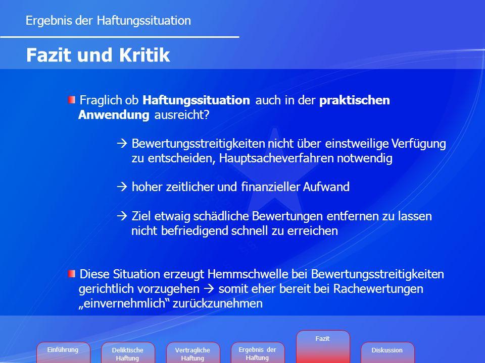 Ergebnis der Haftungssituation Fazit und Kritik Fraglich ob Haftungssituation auch in der praktischen Anwendung ausreicht.