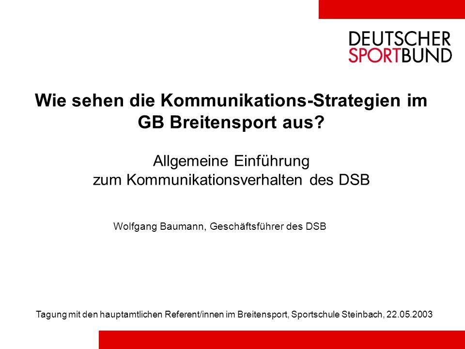 Wie sehen die Kommunikations-Strategien im GB Breitensport aus? Allgemeine Einführung zum Kommunikationsverhalten des DSB Wolfgang Baumann, Geschäftsf
