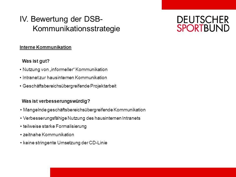 IV. Bewertung der DSB- Kommunikationsstrategie Interne Kommunikation Was ist gut? Nutzung von informeller Kommunikation Intranet zur hausinternen Komm
