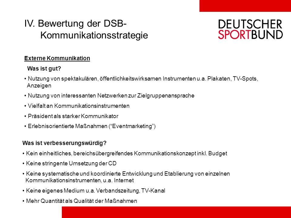 IV. Bewertung der DSB- Kommunikationsstrategie Externe Kommunikation Was ist gut? Nutzung von spektakulären, öffentlichkeitswirksamen Instrumenten u.a